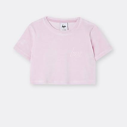 Girls pink Hype velour crop top