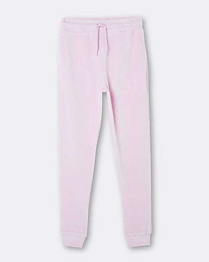 Girls pink Hype velour cuffed joggers