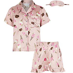 Roze pyjamaset met ijsprint, short en korte mouwen voor meisjes