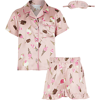 Girls pink ice cream print short pyjama set
