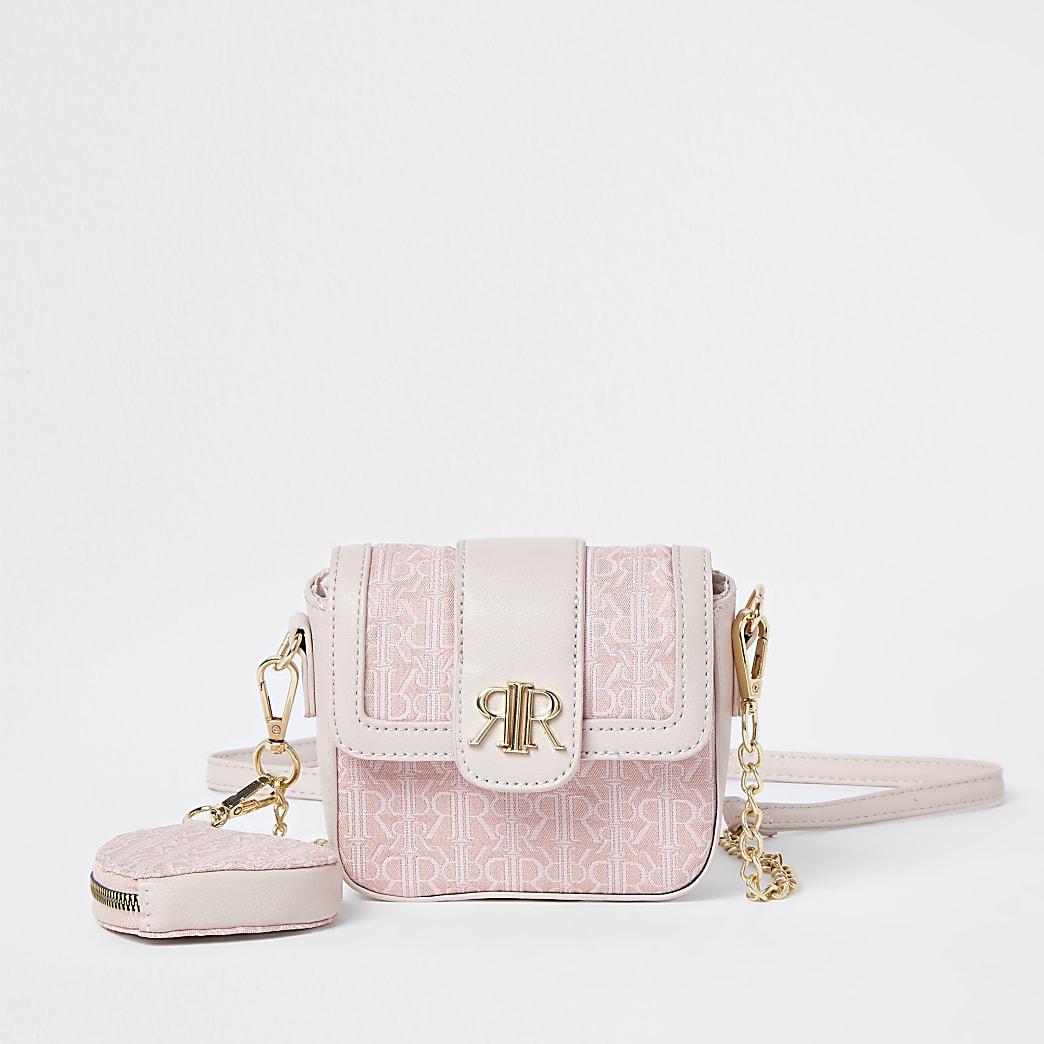 Girls pink jacquard cross body purse bag