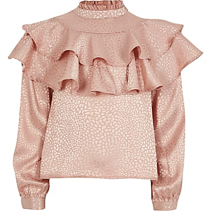Girls pink jacquard frill top