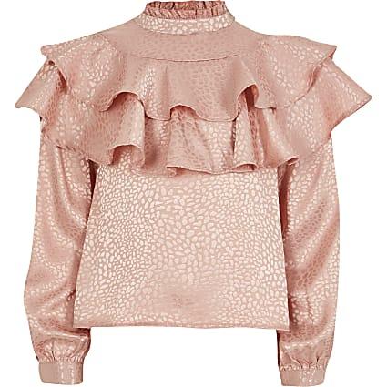 Girls pink jacquard frill top