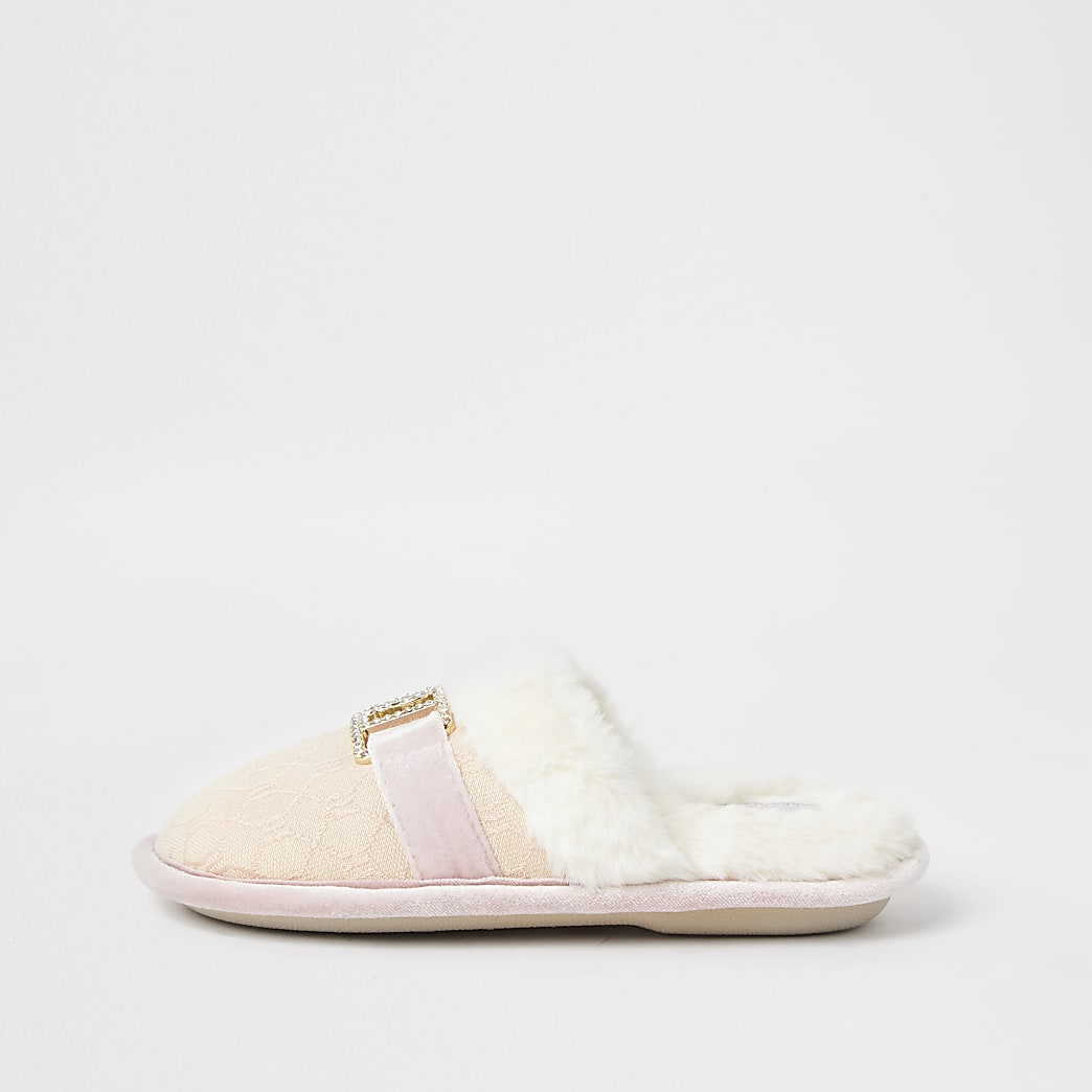 Girls pink jacquard RI slippers