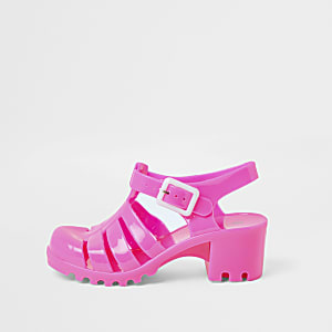 Girls pink jelly heeled sandal