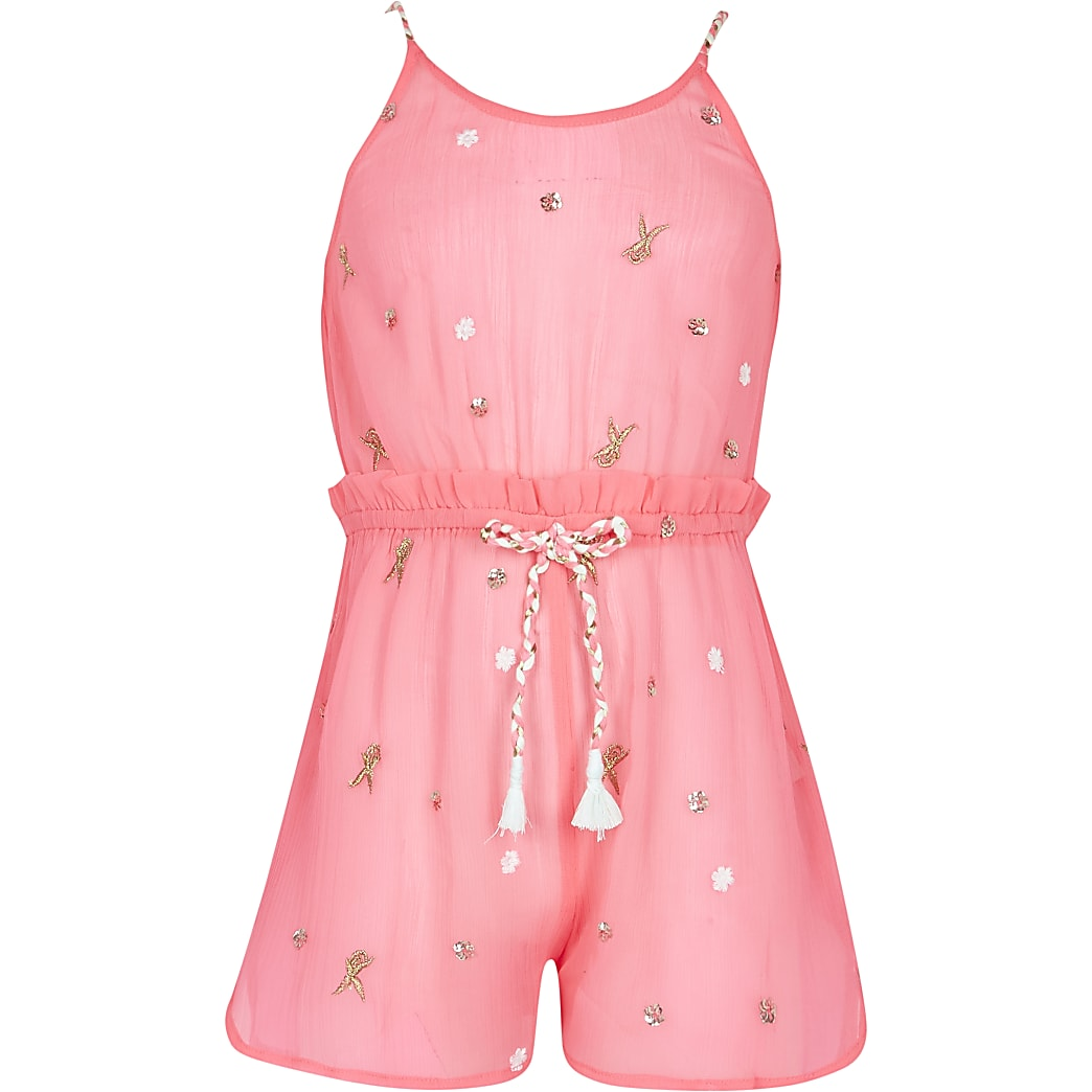 Girls pink jewel embellished playsuit