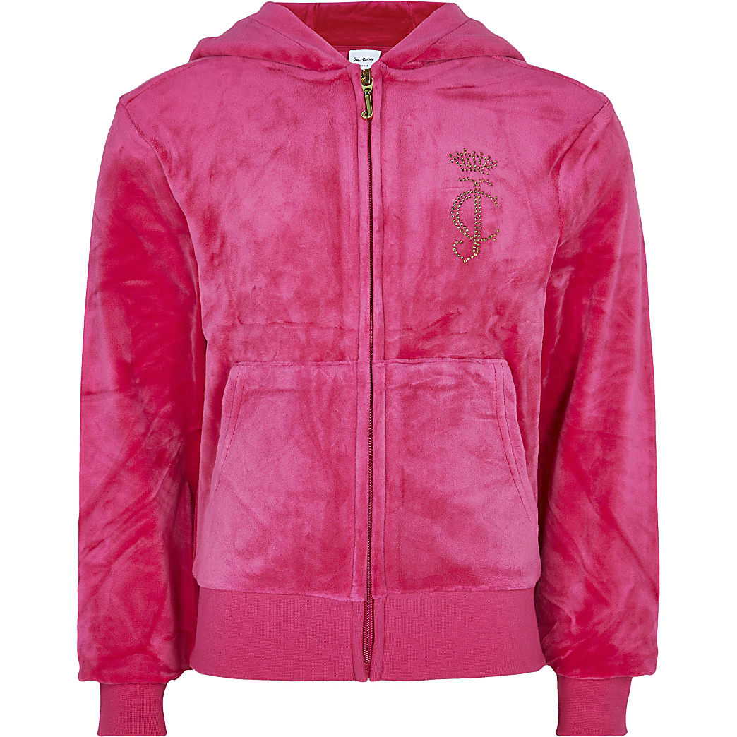 Girls pink Juicy Couture velour hoodie
