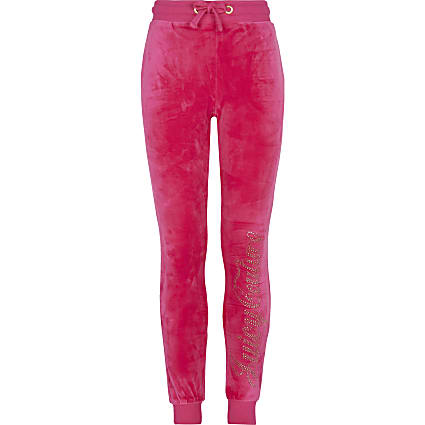 Girls pink Juicy Couture velour joggers
