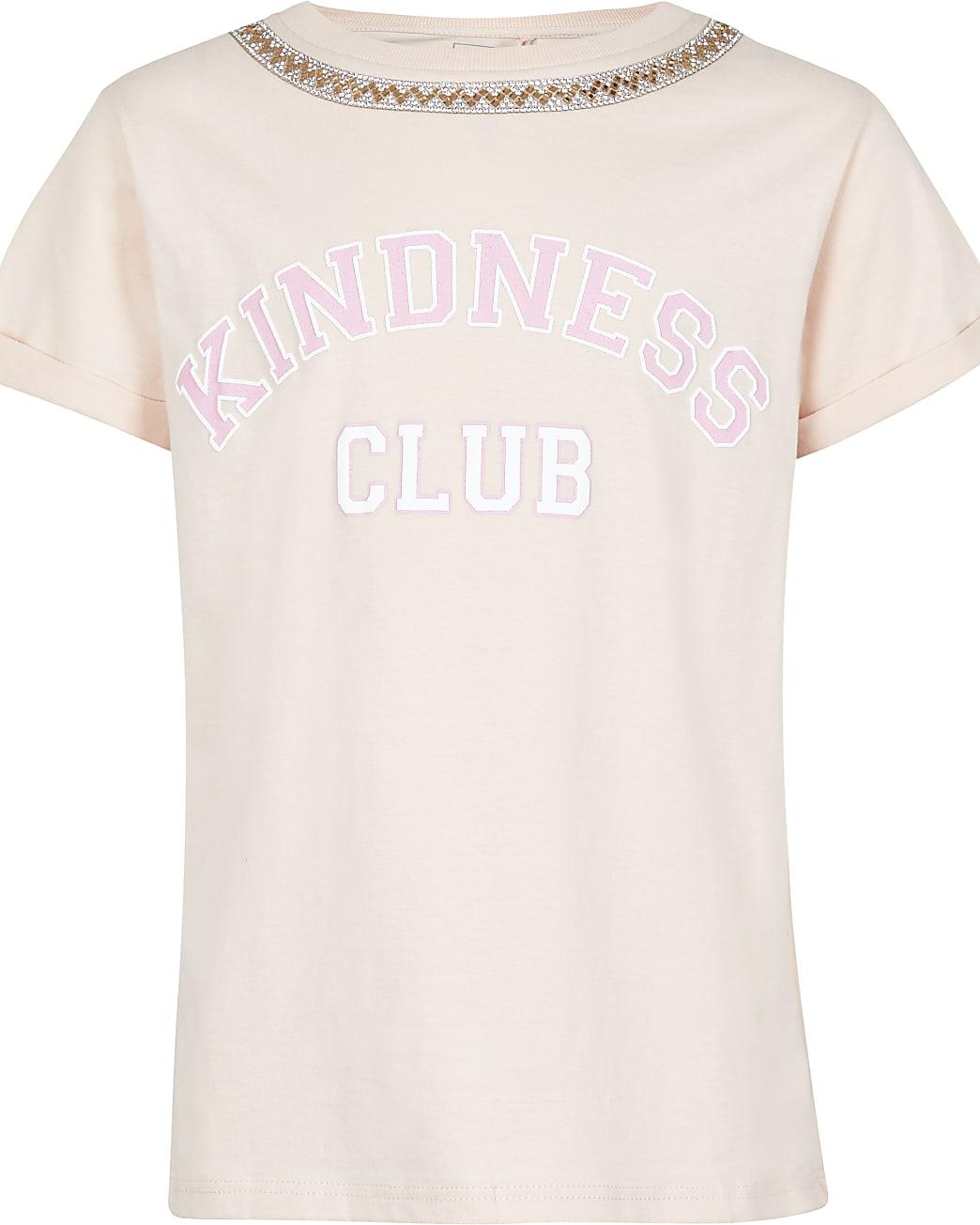 Girls pink 'Kindness Club' printed t-shirt