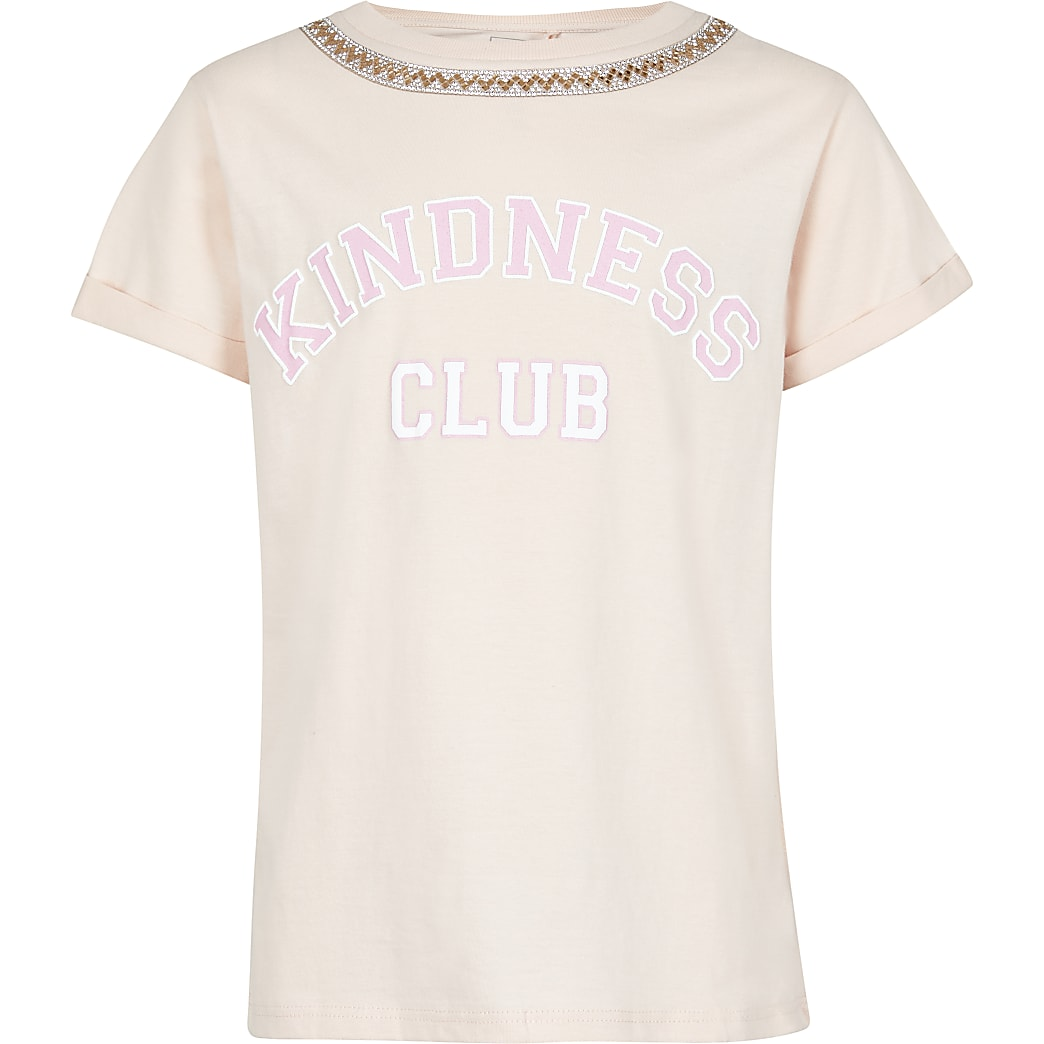Girls pink 'Kindness Club' printed t-shirt