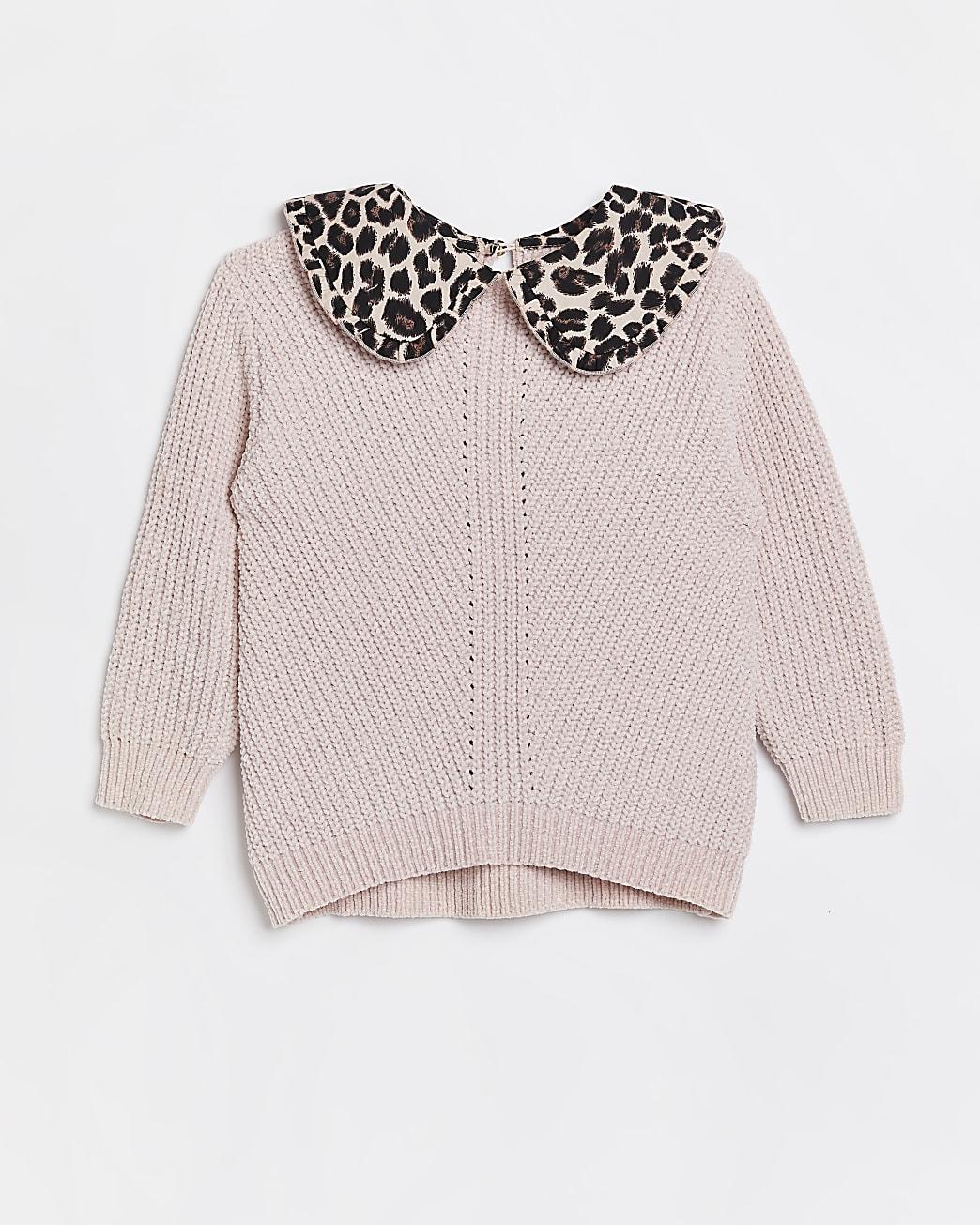 Girls pink knit leopard print collar jumper