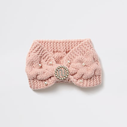 Girls pink knitted bandeau