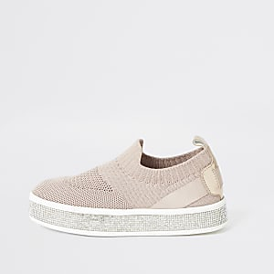 Girls pink knitted diamante trainers