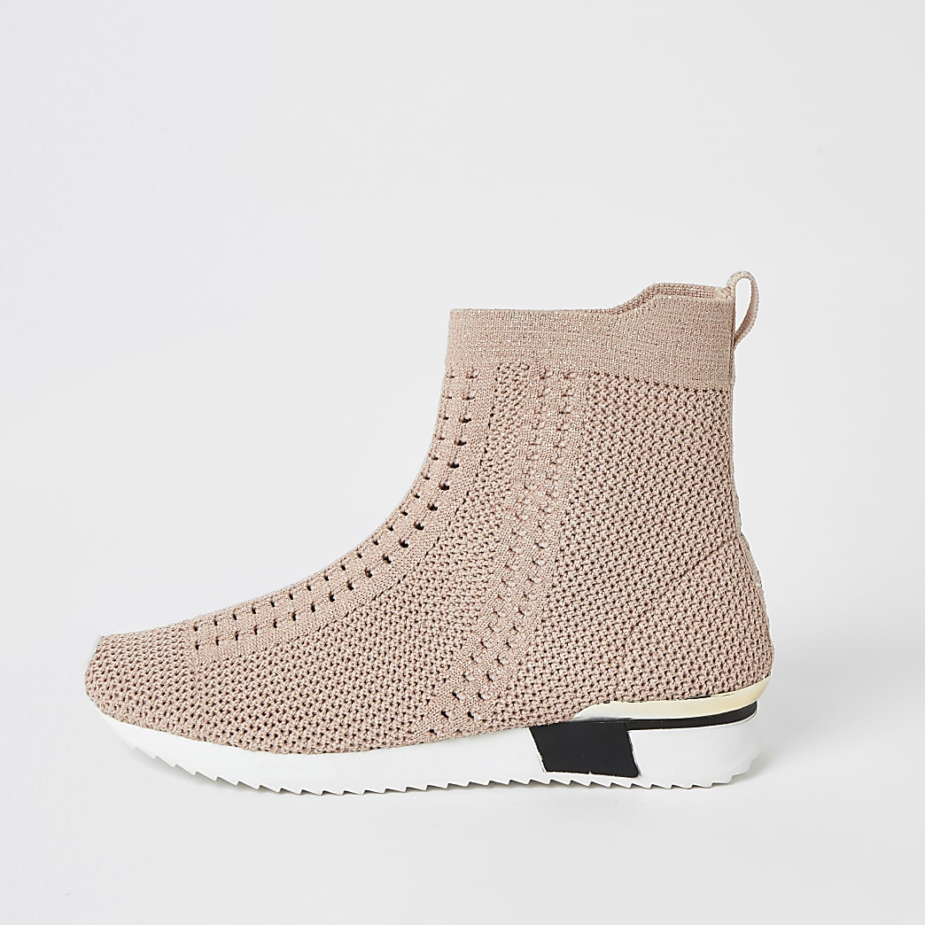 Girls pink knitted high top trainers