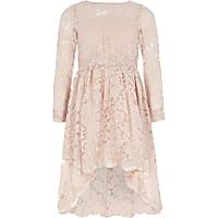 Girls pink lace embellished prom dress