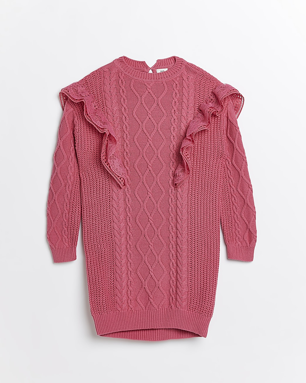 Girls pink lace frill cable knit jumper dress