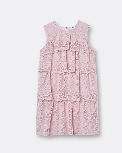 Girls pink lace frill dress