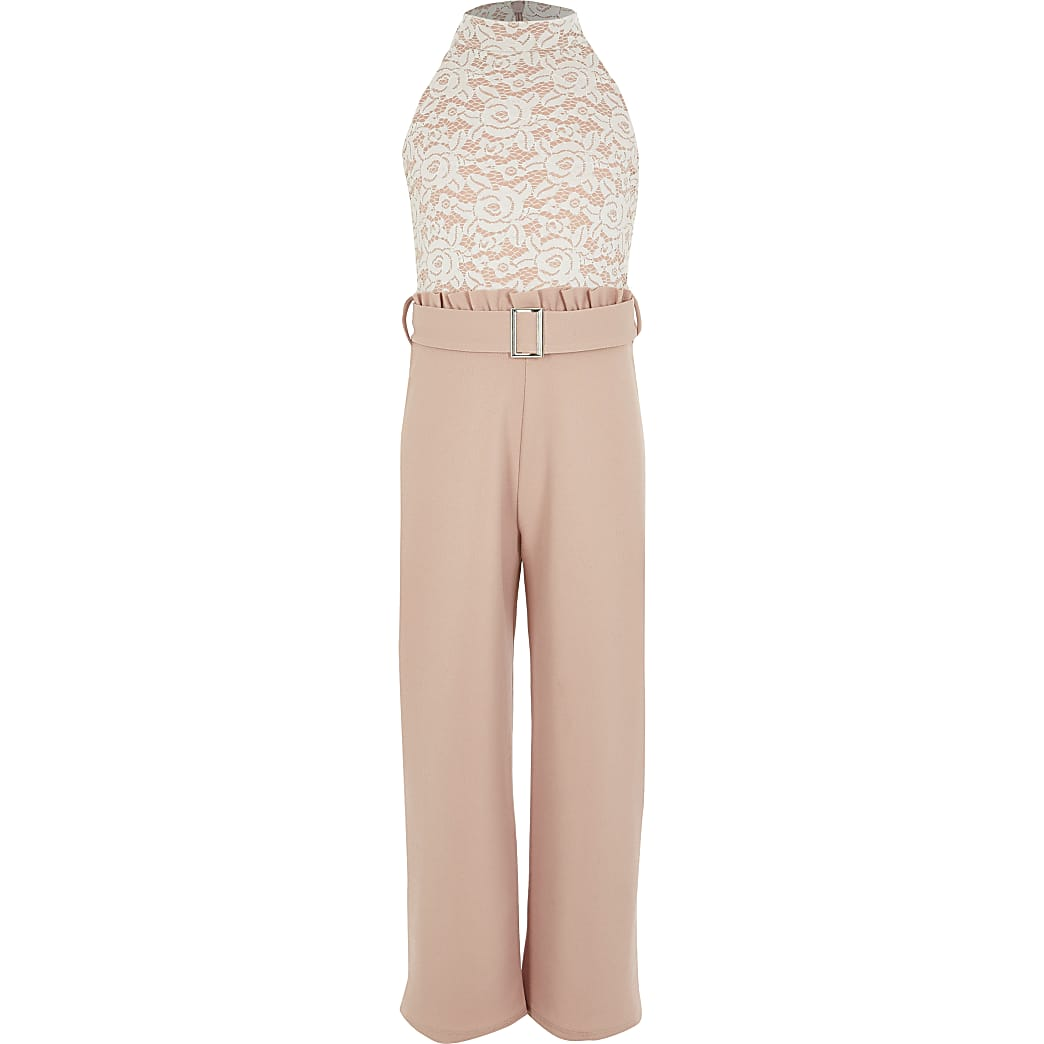 Girls pink lace halter neck jumpsuit