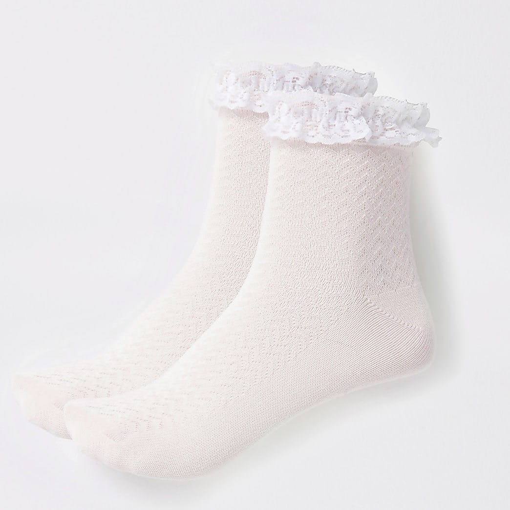 Girls pink lace socks 2 pack