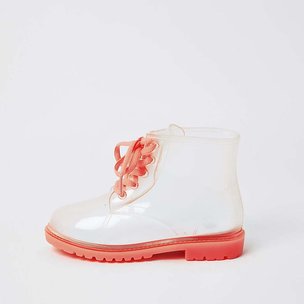 Girls pink lace up welly boot