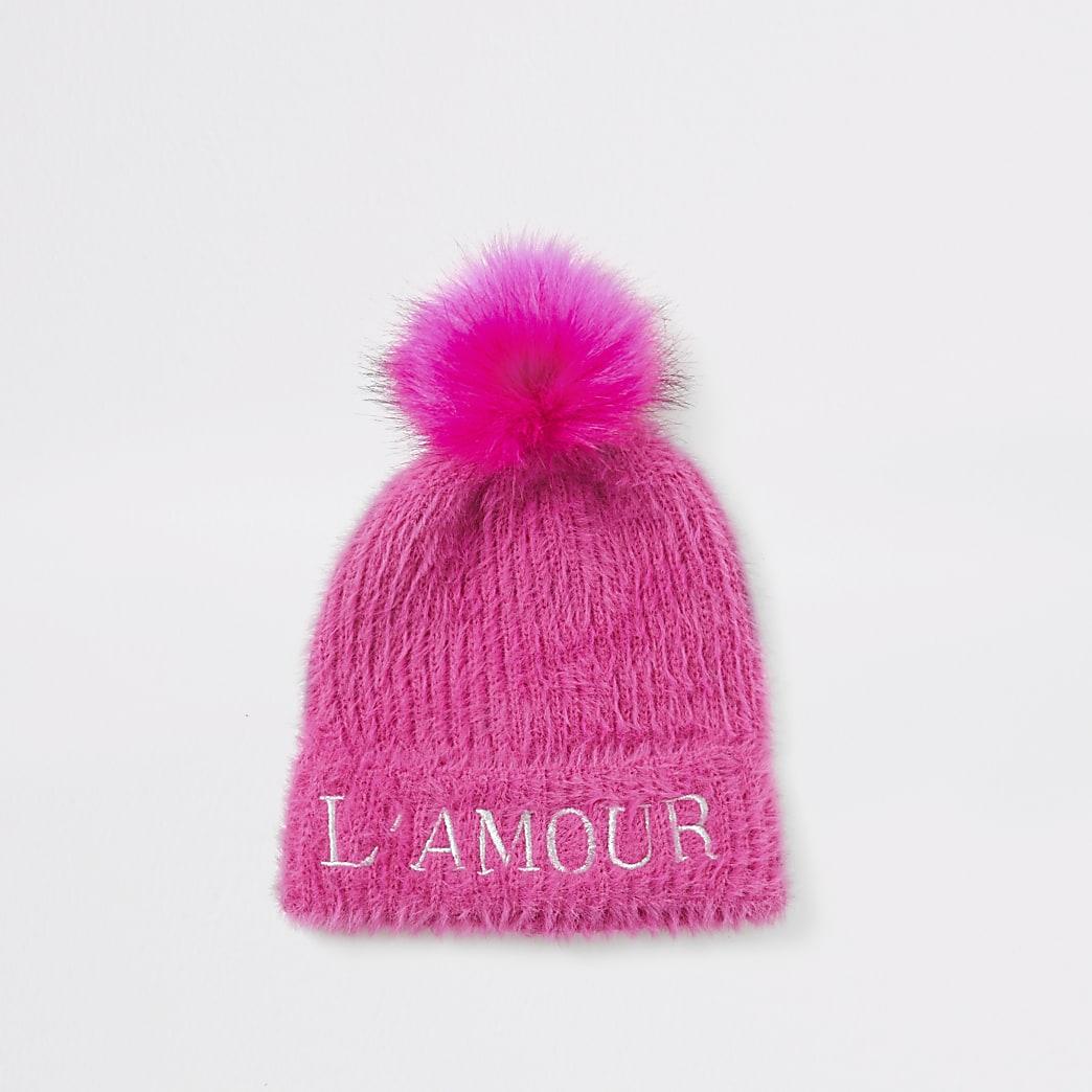Roze pluizige gebreide beanie muts met 'L'amour'-tekst voor meisjes