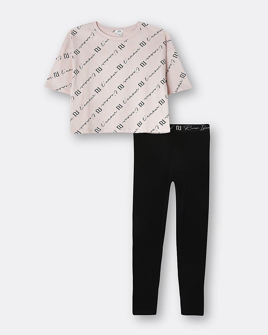 Girls pink 'L'amour' t-shirt and leggings set