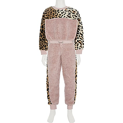 Girls pink leopard borg tracksuit