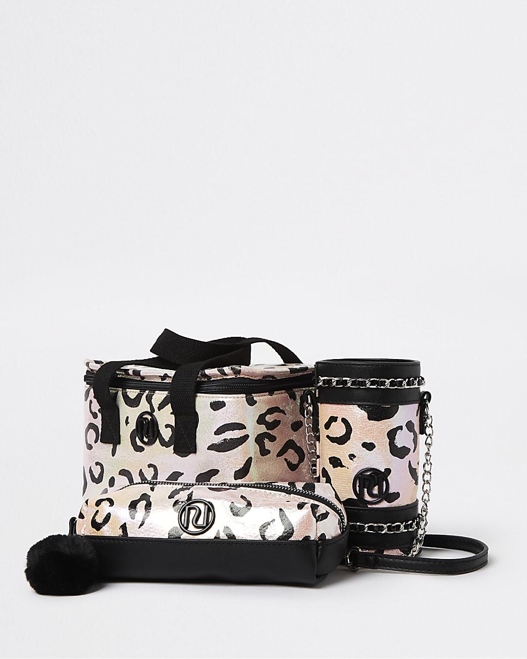 Girls pink leopard lunchbox 3 piece set