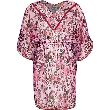 Girls pink leopard print embellished kaftan