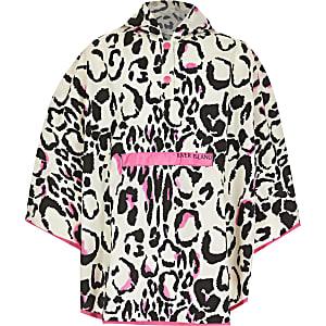 Pinker Regen-Poncho mit Leoprint für Mädchen