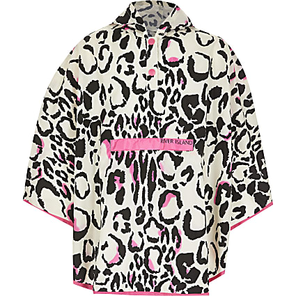 Girls pink leopard print rain mac poncho
