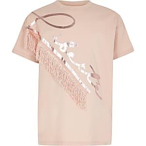 Roze T-shirt met 'Liberte'-tekst en franje voor meisjes