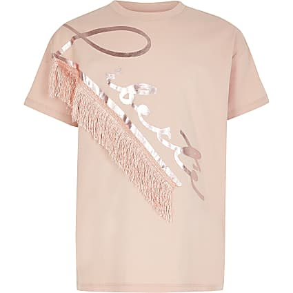 Girls pink 'Liberte' fringe T-shirt