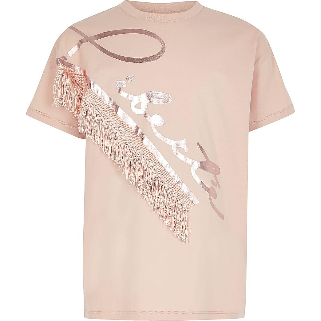 Girls pink 'Liberte' fringe T-shirt