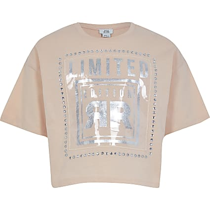 Girls pink 'Limited Edition' print t-shirt