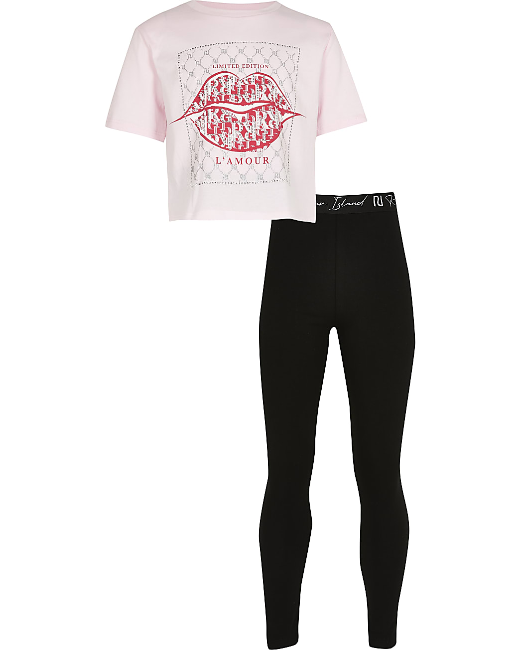Girls pink lip diamante box 2 piece outfit
