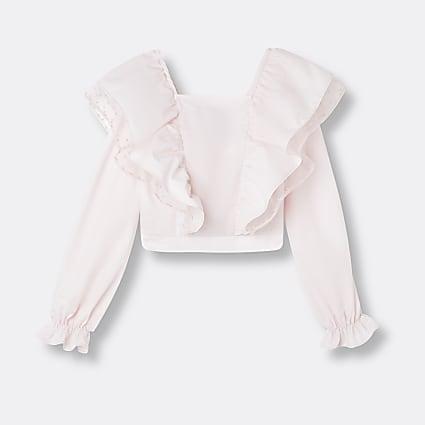 Girls pink Long organza frill blouse top