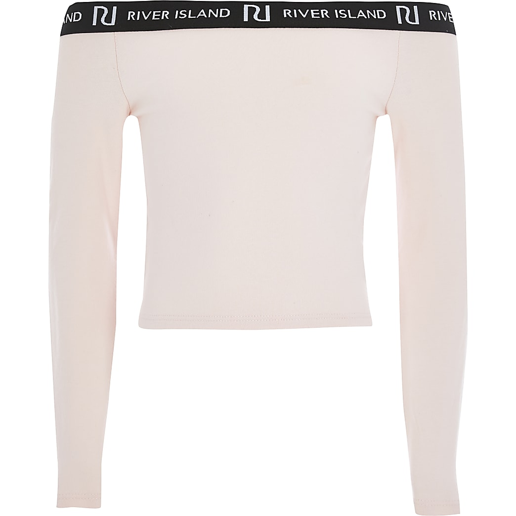 Girls pink long sleeve bardot top