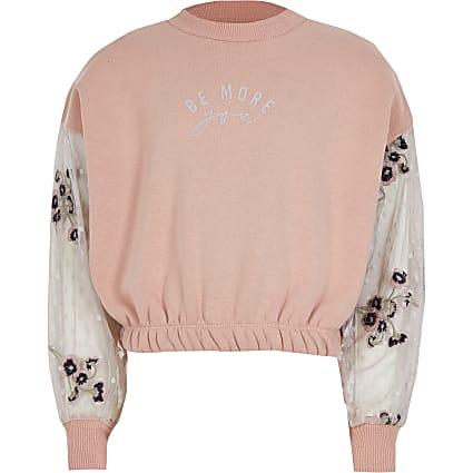 Girls pink long sleeve mesh frill sweatshirt