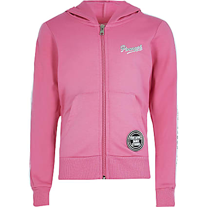 Girls pink long sleeve mesh zip hoody