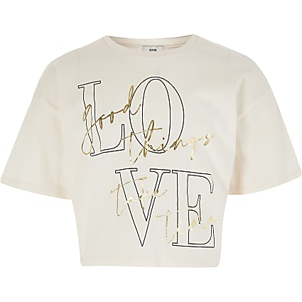 Girls pink 'Love ' print t-shirt