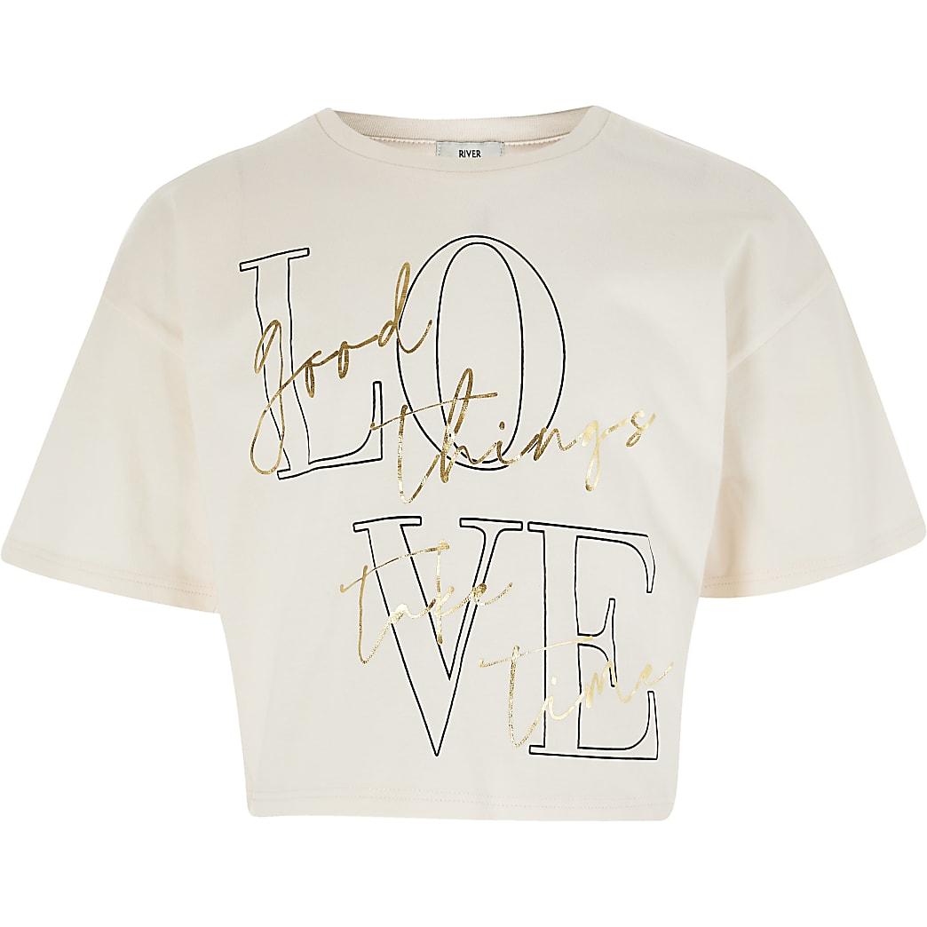 Girls pink 'Love ' print t-shirt