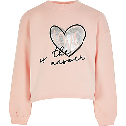 Girls pink 'Love is' logo sweatshirt