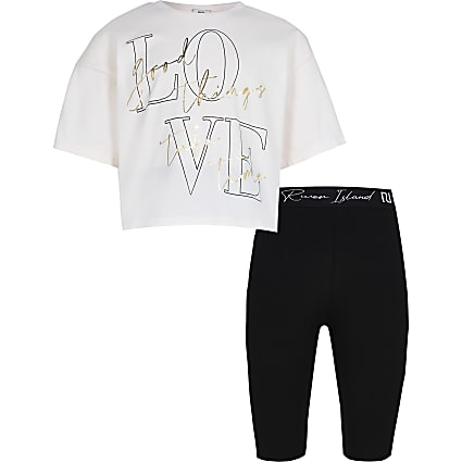 Girls pink 'Love' t-shirt and short outfit