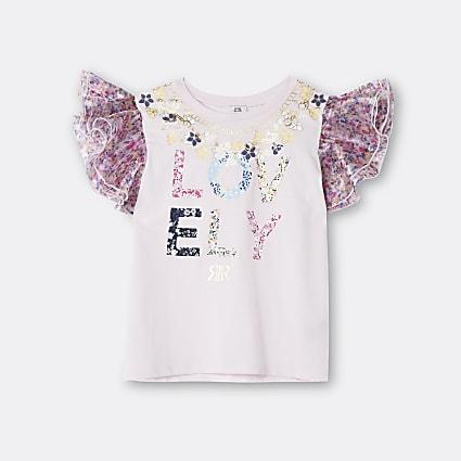 Girls pink 'Lovely' organza sleeve t-shirt