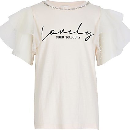 Girls pink 'lovely' print t-shirt