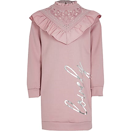Girls pink 'Lovely' sweat dress