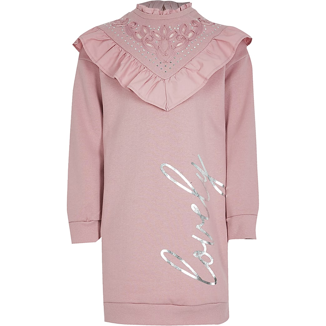 Girls pink 'Lovely' sweat dress