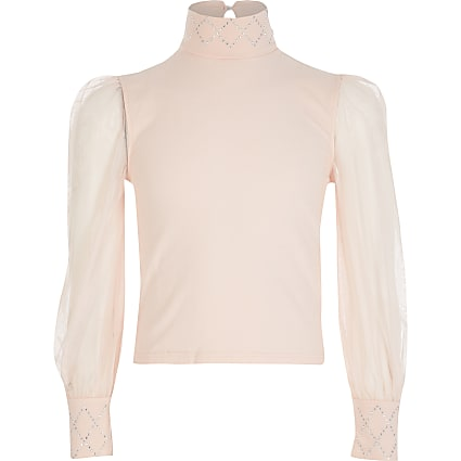 Girls pink mesh sleeve diamante top