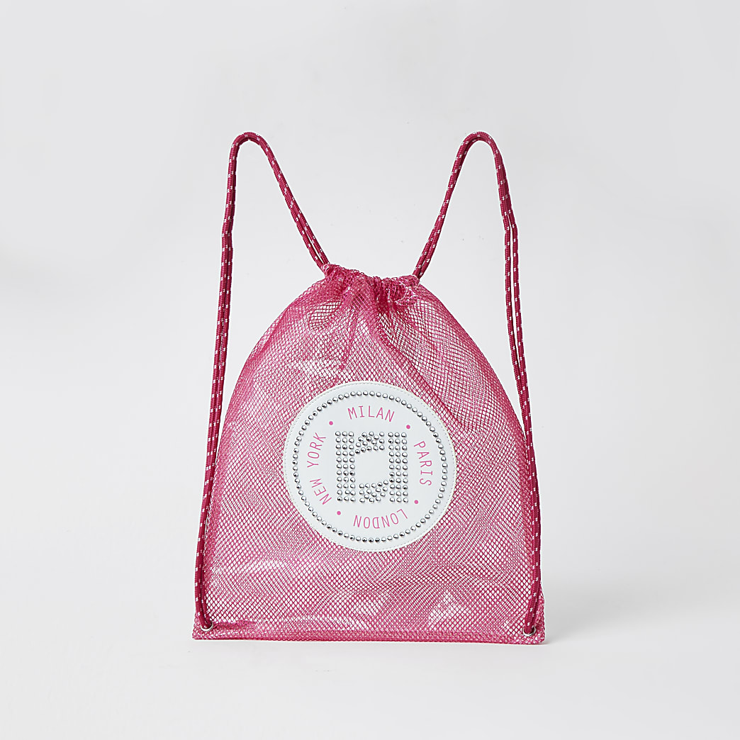 Girls pink mesh vinyl drawstring bag